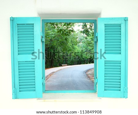 Greek Style windows  with curve road view - stock photo