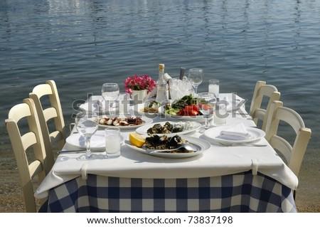 Greek tavern sea food - stock photo
