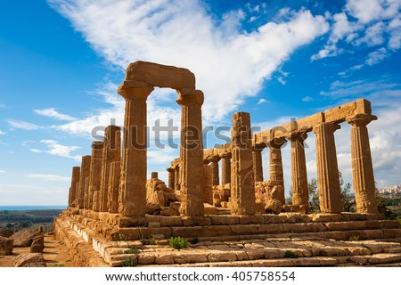 Greek Temple in Agrigento, Sicily, Italy - stock photo