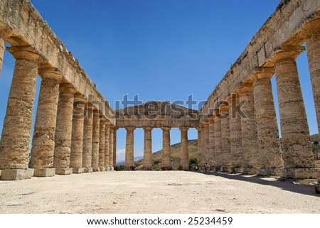 Greek temple in Segesta (Sicily, Italy). UNESCO World heritage site. - stock photo