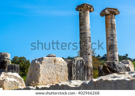 Greek Temple of Artemis near Ephesus and Sardis was build 400 BC  aslo called Temple of Diana. One of Seven Wonders in World. / Greek Temple of Artemis near Ephesus and Sardis - stock photo