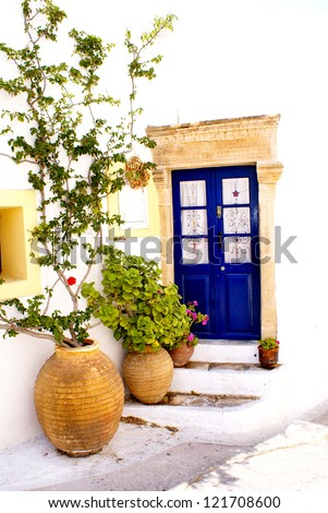 Greek traditional house located at Kithira island - stock photo