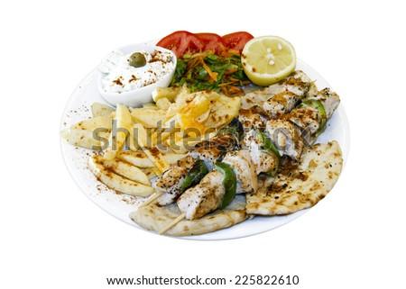 Greek traditional souvlaki dish - stock photo