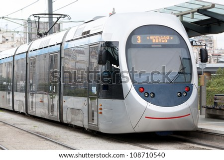 Greek tram in Neo Faliro with destination Voula, Athens, Greece. - stock photo