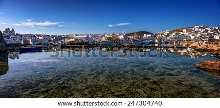 Greek village of Naousa, Paros island, Cyclades on a calm morning