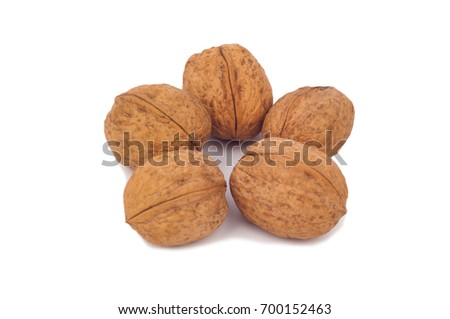 Greek walnut is isolated on a white background