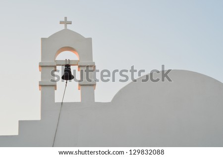 Greek wedding chapel at sunrise