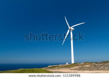 Greek windmill on the coast, Crete - stock photo