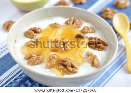 Greek Yoghurt with honey and walnuts - stock photo