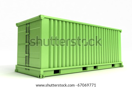 Greem cargo container on a white background