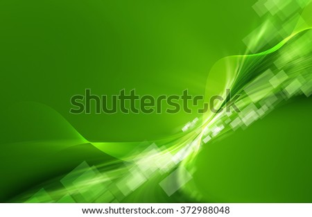 Green abstract background with mesh, curled, rectangle shapes and shiny effect - stock photo