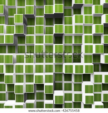green abstract cubes, 3d illustration - stock photo
