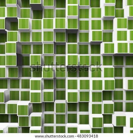 green abstract cubes, 3d illustration