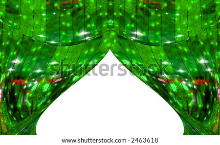 Green abstract curtains at a window. A photo with elements computer diagrams - stock photo