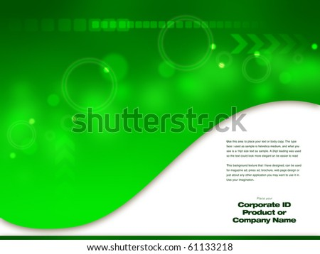 Green Abstract Design artwork,  Design  template ready for web page design, brochures, books, banners, stationary or Press Kits - stock photo