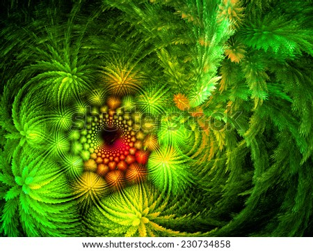 green Abstract flower on dark  Background  - stock photo