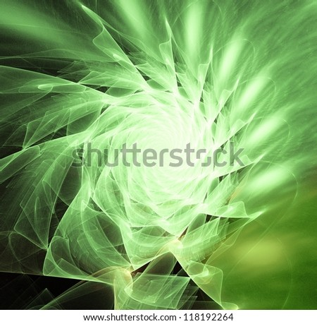 green abstract fractal background - stock photo