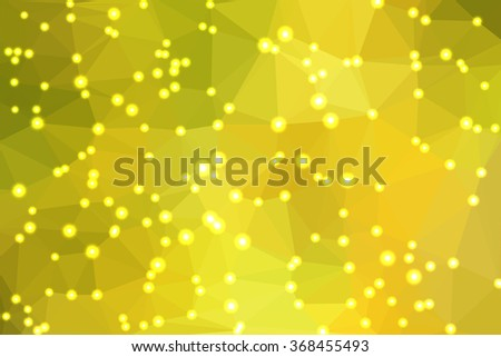Green abstract geometric background consisting of colored triangles with lights in corners.