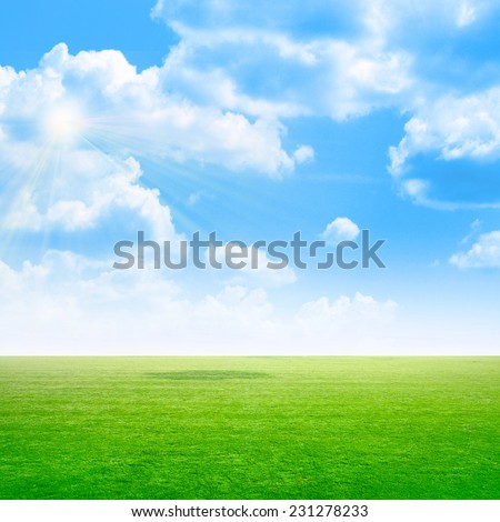 green abstract plain under solar sky