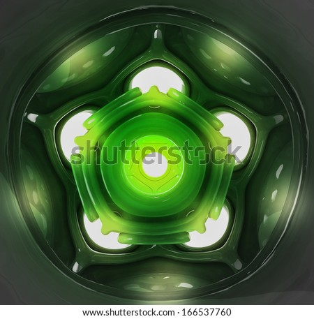 green abstract shaped three dimensional decoration background