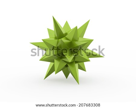 Green abstract star rendered on white background - stock photo