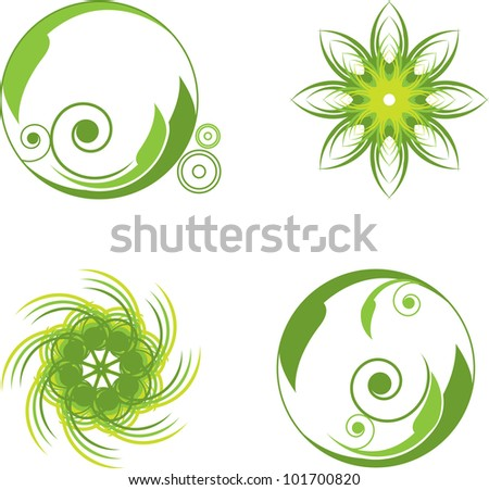 green abstract symbols round with curls