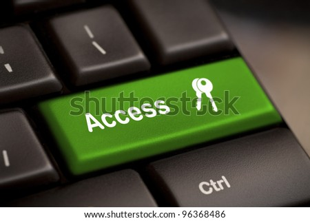 Green access enter key and keys icon. - stock photo