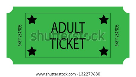 Green Adult Ticket - stock photo
