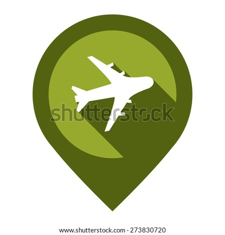 Green Aeroplane, Airplane, Airport, Landing Field, or Logistic Map Pointer Icon Isolated on White Background  - stock photo