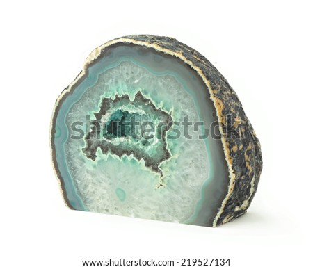 green agate geode rock with crystals  - stock photo