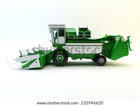 Green agricultural combine-harvester isolated on white - stock photo
