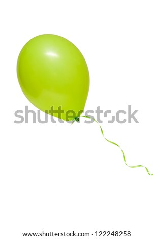 Green air flying ball isolated on white - stock photo