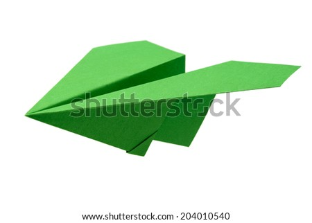 Green airplane made of paper - origami - stock photo