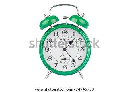 Green alarm clock isolated on white background - stock photo