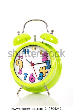 Green alarm clock on white background