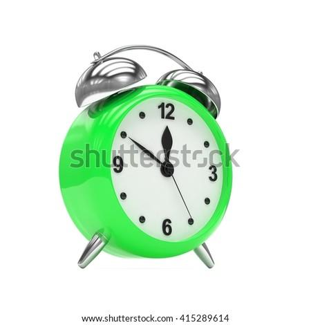 Green alarm clock on white. 3d rendering. - stock photo