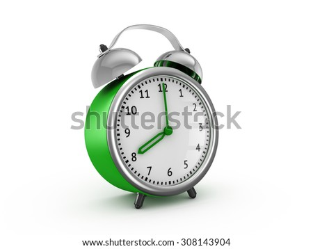 Green alarm clock shows eight hours. 3d render isolated on white background