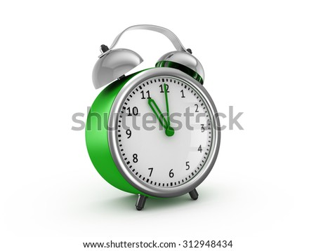 Green alarm clock shows eleven o'clock. 3d render isolated on white background