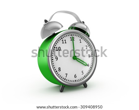 Green alarm clock shows four hours. 3d render isolated on white background