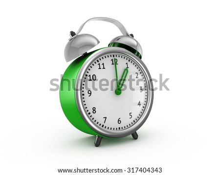 Green alarm clock shows one hour. 3d render isolated on white background