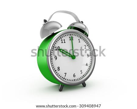 Green alarm clock shows ten hours. 3d render isolated on white background