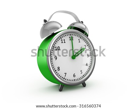 Green alarm clock shows two hours. 3d render isolated on white background