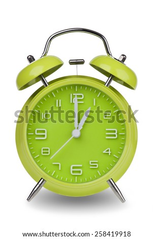 Green alarm clock with the hands at 1 am or pm isolated on a white background. One of a set of 12 images showing the top of the hour starting with 1 am / pm and going through all 12 hours - stock photo