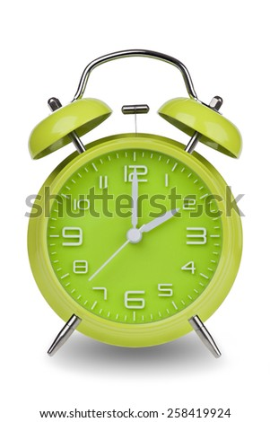 Green alarm clock with the hands at 2 am or pm isolated on a white background. One of a set of 12 images showing the top of the hour starting with 1 am / pm and going through all 12 hours - stock photo