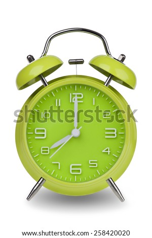 Green alarm clock with the hands at 8 am or pm isolated on a white background. One of a set of 12 images showing the top of the hour starting with 1 am / pm and going through all 12 hours - stock photo