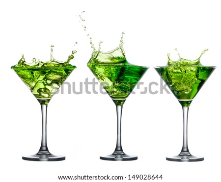 Green alcohol cocktail set with splash isolated on white