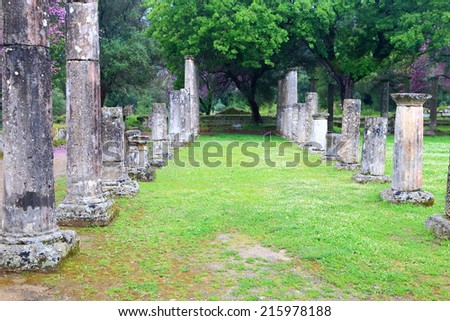 Green alley sided by standing columns in the ancient sanctuary at Olympia, Greece - stock photo