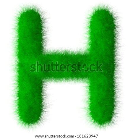 Green alphabet grass H letter,eco font isolated on white background