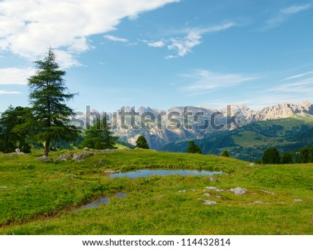 Green Alpine meadow with small blue pond surrounded by high mountains
