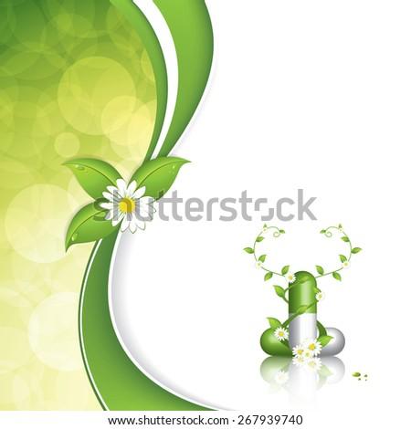 Green alternative medication concept - Herbal pill - stock photo